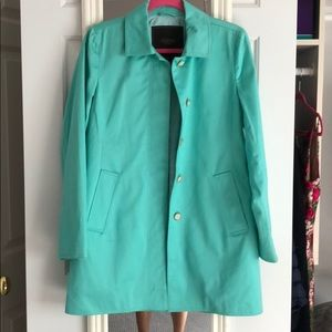 Coach teal trench coat - mid length